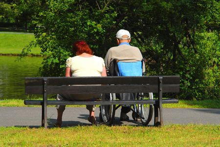 Relaxing in the park, leisure, nature, disability, metaphors photo