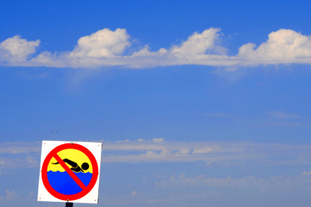 general insurance: Sign on the beach, safety, holidays, concept Stock Photo