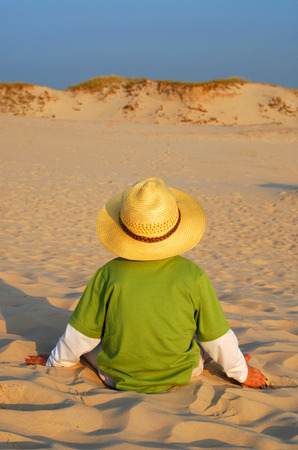 walking path: Boy and sand, summer holidays, concept Stock Photo