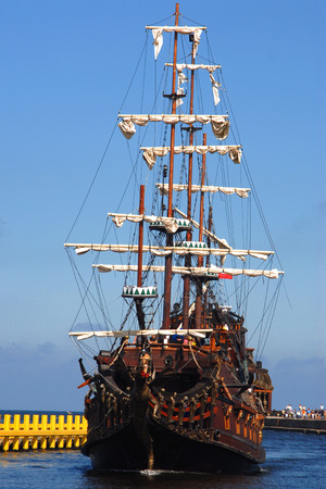 Old sailing-ship, summer holidays, concept photo