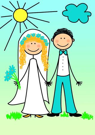 casados: Feliz pareja reci�n casada, series, ilustraci�n, pintura, dibujo  Foto de archivo