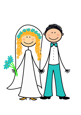 newly wedded couple: Happy newly married couple, series, object isolated, illustration, painting, drawing