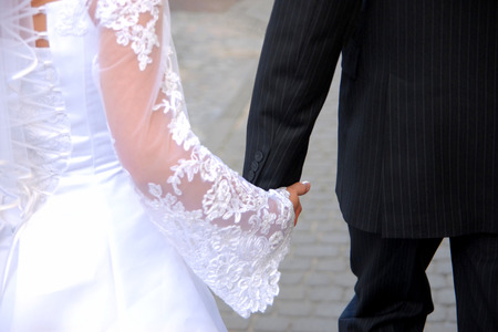 chastity: A couple in the wedding day Stock Photo