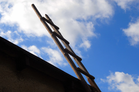 The ladder on the blue sky, the ladder of success photo
