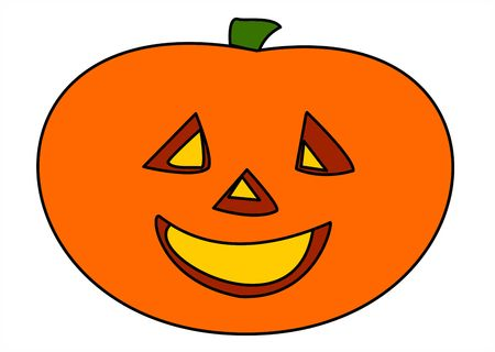 Happy Halloween ! Halloween smiling face of the pumpkin man photo