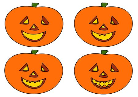 Happy Halloween ! Four Halloween smiling faces of the pumpkin men photo