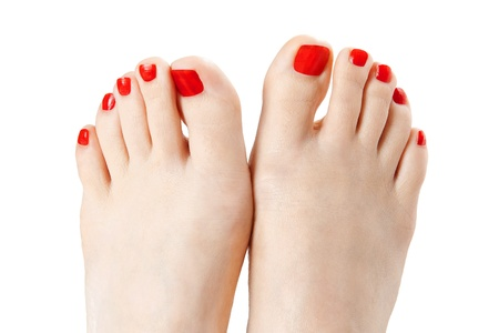human toe: Red nail polish