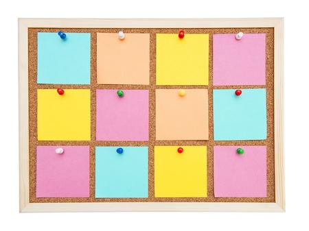 Corkboard met vele kleurrijke postit