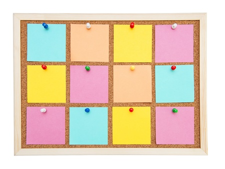 Corkboard with many colorful postit photo