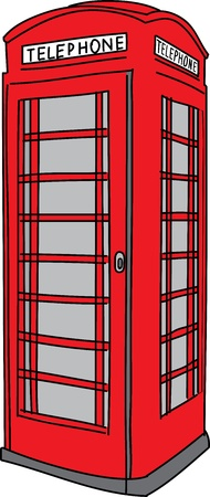 english culture: Red phone booth  Vector illustration Illustration