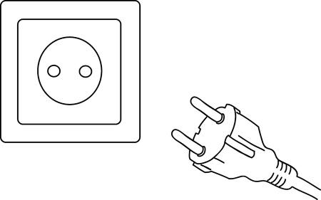 plugin: Electric current  Vector illustration