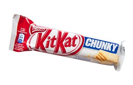 Kit Kat Chunky White candy bar with white chocolate produced by Nestle isolated on a white background