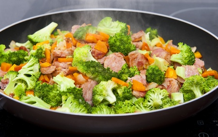 veal sausage: Meal time Stock Photo
