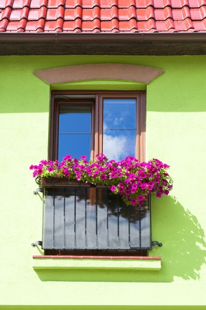 balcony window: Colorful architecture Stock Photo