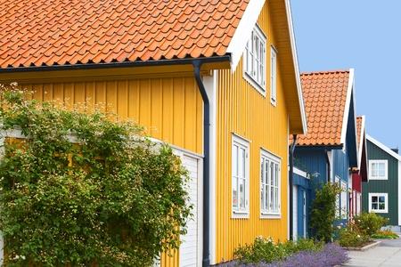 Case di legno colorate Archivio Fotografico