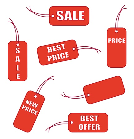 low prices: Red sale labels