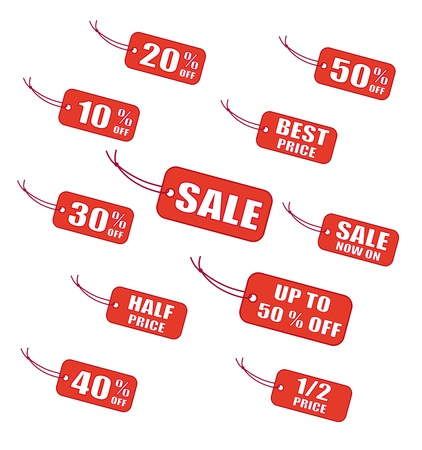 Red sale labels Vector