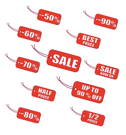 Red sale labels Stock Vector - 18011952