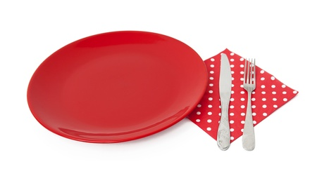Red plate and cutlery Stock Photo - 19940919