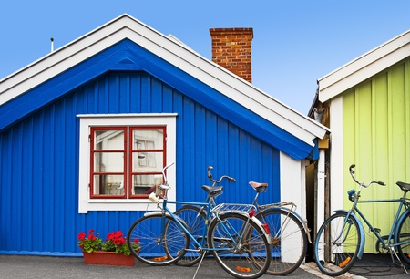 small country town: Wooden houses