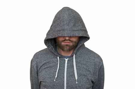 long shot: Hooded man Stock Photo