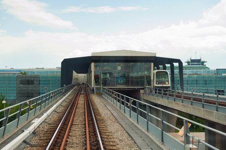 kastrup: COPENHAGEN, DENMARK - JULY 1  Metro at Lufthavnen Airport Station on July 1, 2014 in Copenhagen