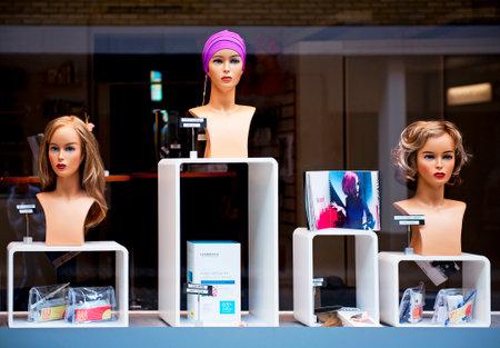 MALMO, SWEDEN - JUNE 29  Beauty salon window on June 29, 2014 in Malmö