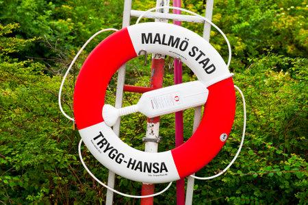 MALMO, SWEDEN - JUNE 29   Malmo Stad lifebuoy on June 29, 2014 in Malmo