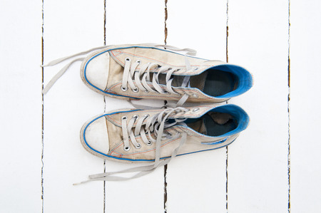 Sport shoes on the white floor photo
