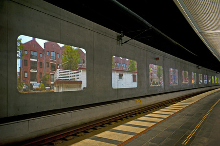 ruiz: MALMO, SWEDEN - JUNE 30: Video installation Elsewhere at the Central railway station on June 30, 2014 in Malmo. Created by Tania Ruiz Gutierrez