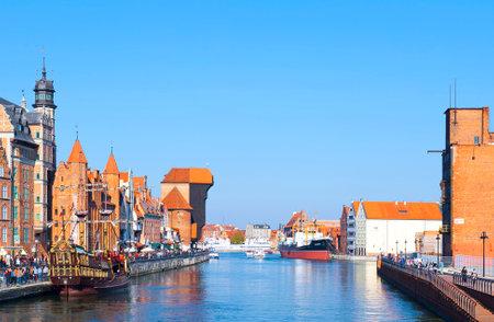 GDANSK, POLAND - OCTOBER 4: Old town with medieval port crane Zuraw over Motlawa river on October 4, 2014 in Gdansk