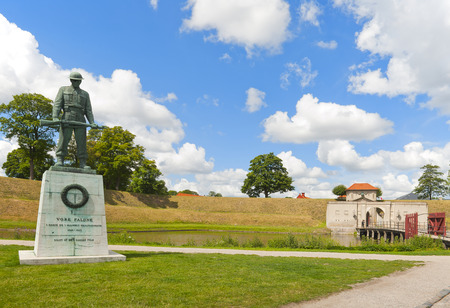 fastness: COPENHAGEN, DENMARK - JULY 2  Fortress Kastellet on July 2, 2014 in Copenhagen. Fallen Soldier Monument in remembrance of Danish soldiers who died during the Second World War