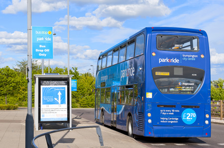 british touring car: CAMBRIDGE, ENGLAND - MAY 28: Parkride double-decker bus at the bus stop Trumpington on May 28, 2015 in Cambridge