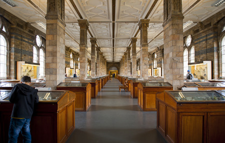 meteorites: LONDON, ENGLAND - MAY 30: Mineral Gallery at the Natural History Museum on May 30, 2015 in London