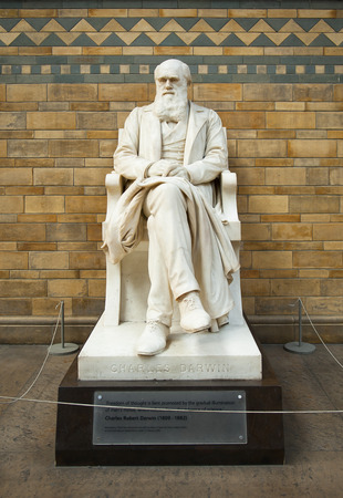 LONDON, ENGLAND - MAY 30: Statue of Charles Darwin in the Natural History Museum on May 30, 2015 in London Editorial