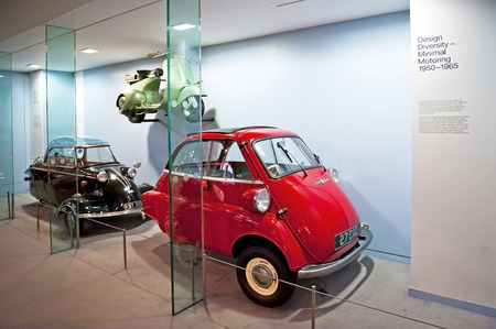 motoring: LONDON, ENGLAND - MAY 31: Design Diversity mininal Motoring 1950 -1965 in Science Museum in London on May 31, 2015 in London Editorial