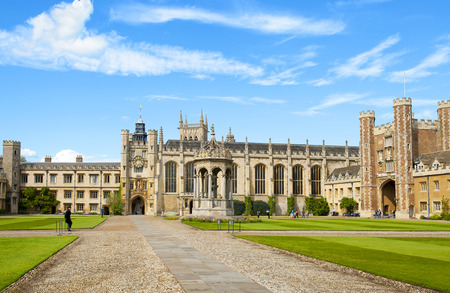 university fountain: CAMBRIDGE, ENGLAND - MAY 28: Trinity College, University of Cambridge. Kings Gate, Chapel, Fountain and Great Gate on May 28, 2015 in Cambridge