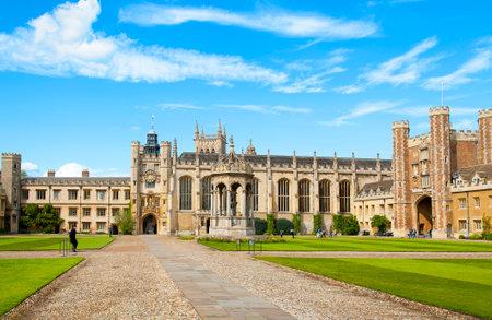 university fountain: CAMBRIDGE, ENGLAND - MAY 28: Trinity College, University of Cambridge. Kings Gate, Chapel, Fountain and Great Gate on May 28, 2015 in Cambridge