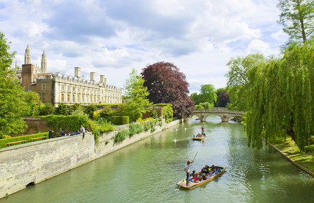 punting: CAMBRIDGE, ENGLAND - MAY 28: Punting on the River Cam on May 28, 2015 in Cambridge