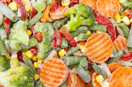 deep freeze: frozen vegetables Stock Photo