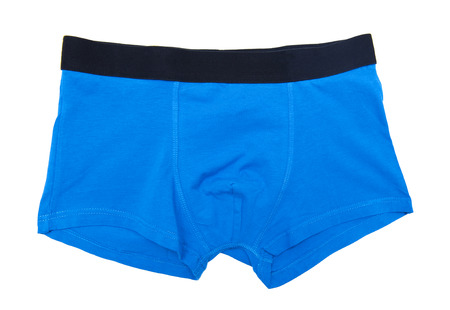 underclothing: Blue boxer shorts isolated on the white background Stock Photo