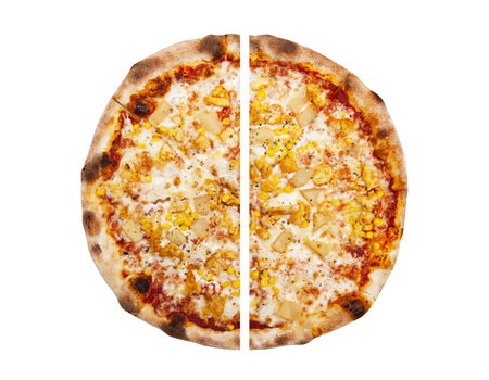 2 50: Two pieces of pizza isolated on the white background