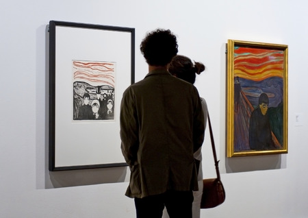lithograph: OSLO, NORWAY - AUGUST 28, 2016, Edvard Munch: The Angst (Anxiety), and Lithograph The Despair, Oil on canvas - in The Munch Museum in Oslo.