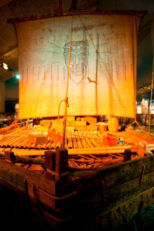 OSLO, NORWAY - AUGUST 27, 2016: The Original Kon-Tiki Raft in the Kon-Tiki Museum in Oslo