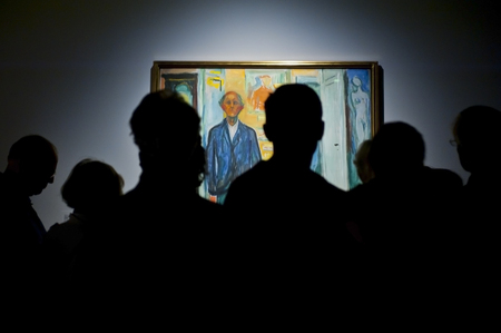 munch: OSLO, NORWAY - AUGUST 28, 2016, Edvard Munch: Self Portrait. Between the Clock and the bed in The Munch Museum in Oslo.
