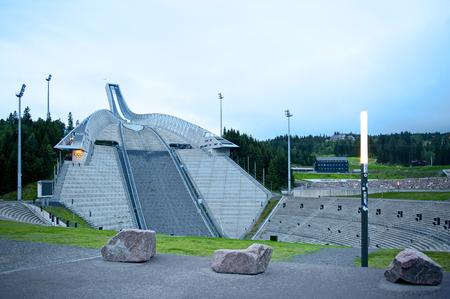 ski jump: OSLO, NORWAY - AUGUST 28, 2016, Holmenkollen (Holmenkollbakken) ski jump in Oslo.