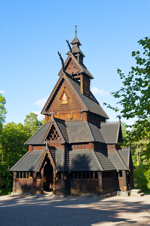 cultural history: OSLO, NORWAY - AUGUST 29, 2016: The Stave Church from Gol in Norwegian Folk Museum (The Norwegian Museum of Cultural History) in Oslo
