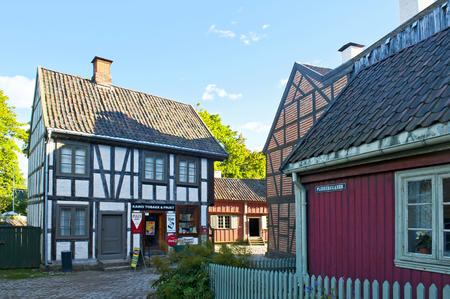 cultural history: OSLO, NORWAY - AUGUST 29, 2016: The Historic Buildings in The Norwegian Museum of Cultural History (The Norwegian Folk Museum) in Oslo.