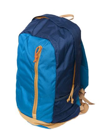 Blauwe rugzak geïsoleerd op de witte achtergrond Stockfoto