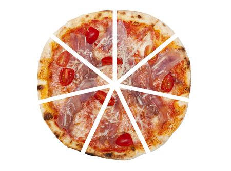 흰색 배경에 고립 된 피자의 7 조각 스톡 콘텐츠
